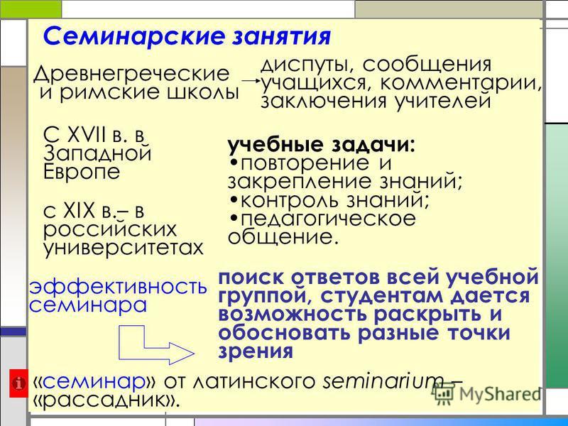 Семинарские занятия «семинар» от латинского seminarium – «рассадник». Древнегреческие и римские школы диспуты, сообщения учащихся, комментарии, заключения учителей С XVII в. в Западной Европе с XIX в.– в российских университетах учебные задачи: повто