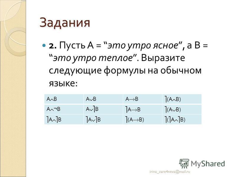 Задания 2. Пусть А = это утро ясное, а В =это утро теплое. Выразите следующие формулы на обычном языке: irina_zare4neva@mail.ru А В (А В) А ¬ ВА В (А В) А В (А В)