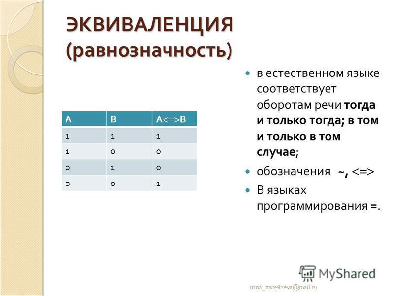 ЭКВИВАЛЕНЦИЯ (равнозначность) в естественном языке соответствует оборотам речи тогда и только тогда; в том и только в том случае; обозначения ~, В языках программирования =. irina_zare4neva@mail.ru АВ А В 111 100 010 001