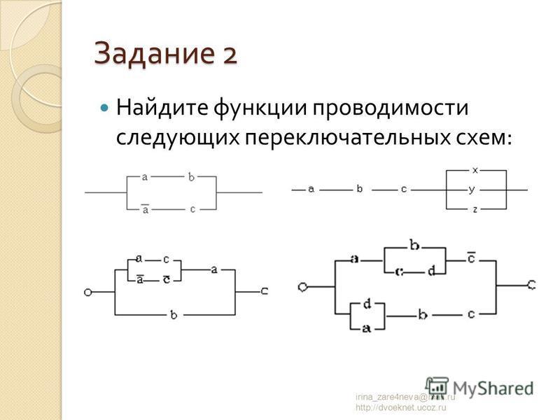 Задание 2 Найдите функции проводимости следующих переключательных схем : irina_zare4neva@mail.ru http://dvoeknet.ucoz.ru