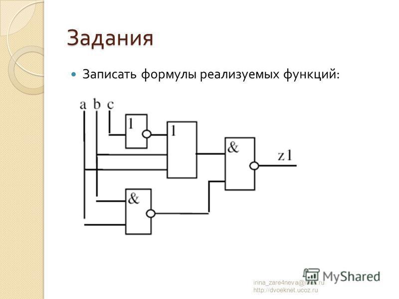 Задания Записать формулы реализуемых функций : irina_zare4neva@mail.ru http://dvoeknet.ucoz.ru