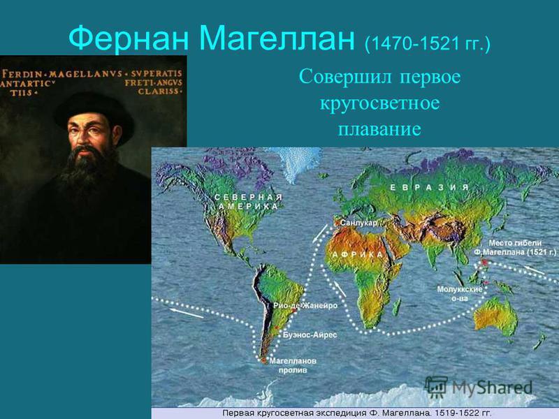 Фернан Магеллан (1470-1521 гг.) Совершил первое кругосветное плавание