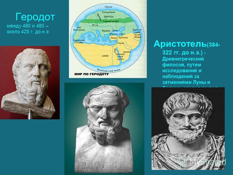 Геродот между 490 и 480 – около 425 г. до н.э Аристотель (384- 322 гг. до н.э.) - Древнегреческий философ, путем исследований и наблюдений за затмениями Луны и Солнца, сделал вывод, что Земля имеет форму шара.