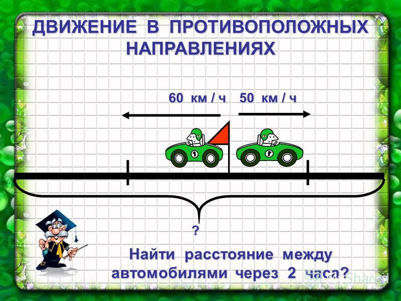 ДВИЖЕНИЕ В ПРОТИВОПОЛОЖНЫХ НАПРАВЛЕНИЯХ ? Найти расстояние между автомобилями через 2 часа? 60 км / ч 50 км / ч