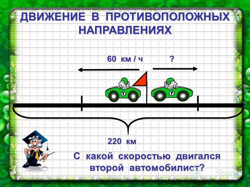 ДВИЖЕНИЕ В ПРОТИВОПОЛОЖНЫХ НАПРАВЛЕНИЯХ 220 км 220 км С какой скоростью двигался второй автомобилист? 60 км / ч ?