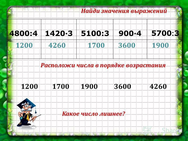 4800:41420·3 5100:3900·4 5700 : 3 12004260190036001700 Найди значения выражений Расположи числа в порядке возрастания 12001700190036004260 2 Какое число лишнее?