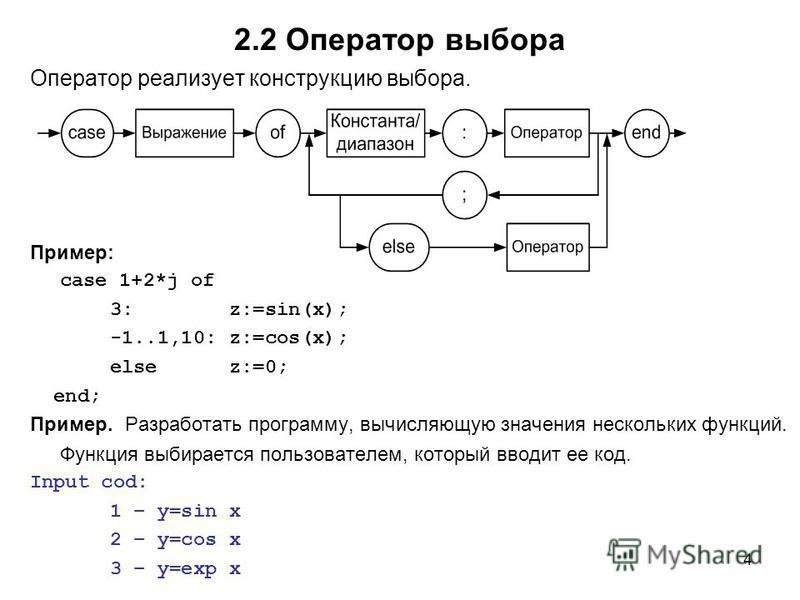 4 2.2 Оператор выбора Оператор реализует конструкцию выбора. Пример: case 1+2*j of 3: z:=sin(x); -1..1,10: z:=cos(x); else z:=0; end; Пример. Разработать программу, вычисляющую значения нескольких функций. Функция выбирается пользователем, который вв