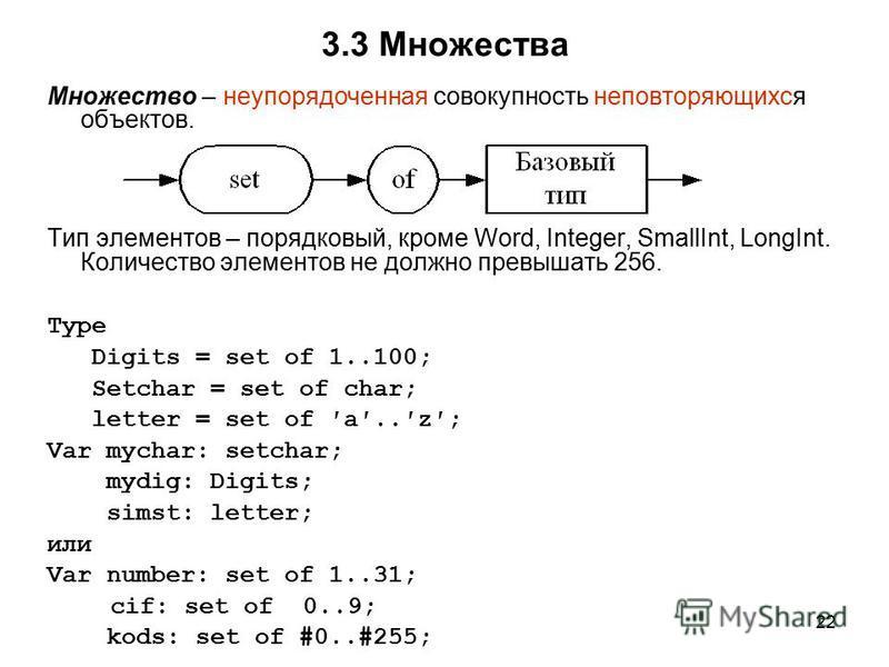 22 3.3 Множества Множество – неупорядоченная совокупность неповторяющихся объектов. Тип элементов – порядковый, кроме Word, Integer, SmallInt, LongInt. Количество элементов не должно превышать 256. Type Digits = set of 1..100; Setchar = set of char;