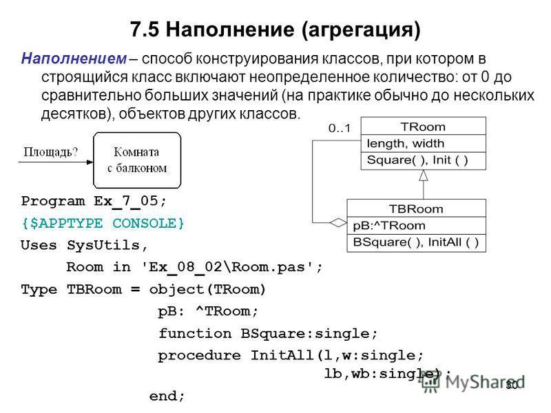 30 7.5 Наполнение (агрегация) Наполнением – способ конструирования классов, при котором в строящийся класс включают неопределенное количество: от 0 до сравнительно больших значений (на практике обычно до нескольких десятков), объектов других классов.