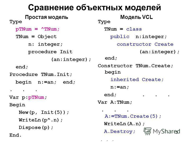 3 Type pTNum = ^TNum; TNum = Object n: integer; procedure Init (an:integer); end; Procedure TNum.Init; begin n:=an; end;... Var p:pTNum; Begin New(p, Init(5)); WriteLn(p^.n); Dispose(p); End. Сравнение объектных моделей Type TNum = class public n:int