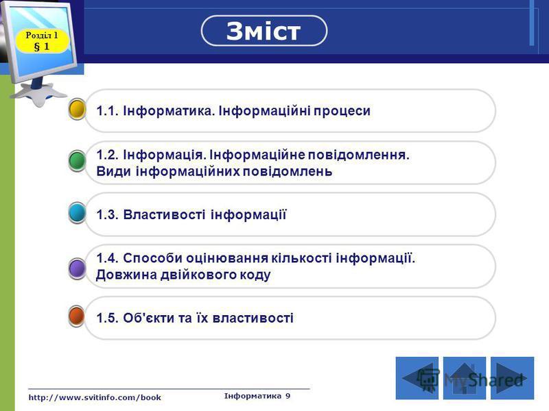 http://www.svitinfo.com/book Інформатика 9 1.1. Інформатика. Інформаційні процеси 1.2. Інформація. Інформаційне повідомлення. Види інформаційних повідомлень 1.3. Властивості інформації 1.4. Способи оцінювання кількості інформації. Довжина двійкового