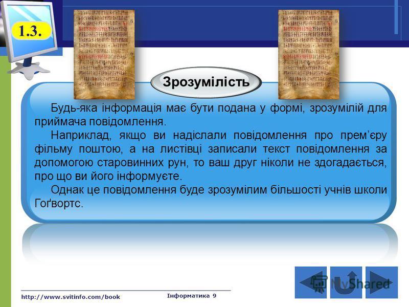 http://www.svitinfo.com/book Інформатика 9 Зрозумілість Будь-яка інформація має бути подана у формі, зрозумілій для приймача повідомлення. Наприклад, якщо ви надіслали повідомлення про премєру фільму поштою, а на листівці записали текст повідомлення