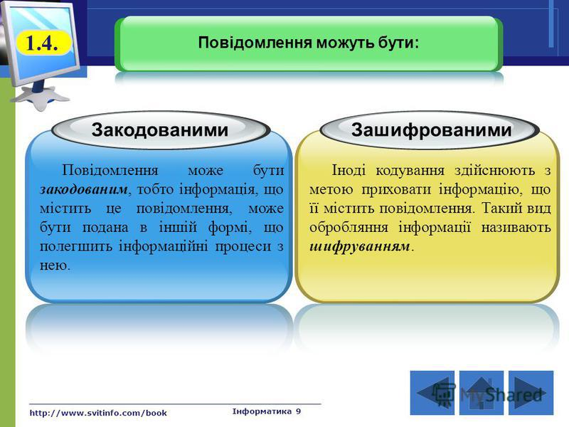 http://www.svitinfo.com/book Інформатика 9 Закодованими Повідомлення може бути закодованим, тобто інформація, що містить це повідомлення, може бути подана в іншій формі, що полегшить інформаційні процеси з нею. Зашифрованими Іноді кодування здійснюют