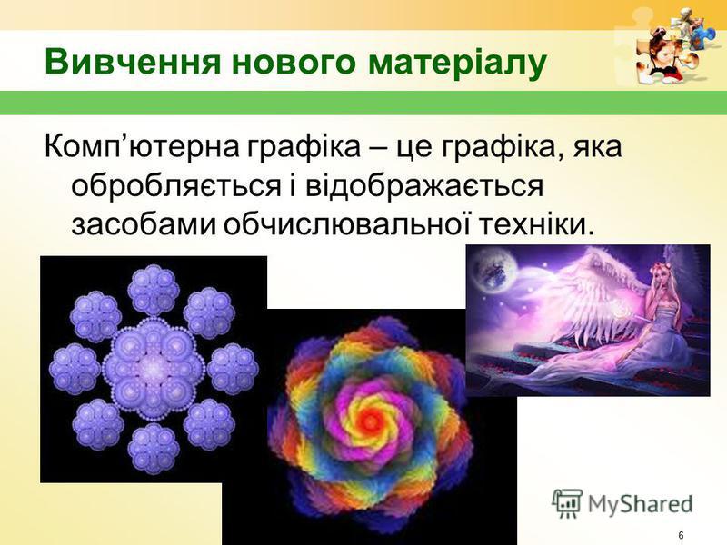 Вивчення нового матеріалу 6 Компютерна графіка – це графіка, яка обробляється і відображається засобами обчислювальної техніки.