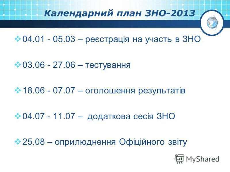 Календарний план ЗНО-2013 04.01 - 05.03 – реєстрація на участь в ЗНО 03.06 - 27.06 – тестування 18.06 - 07.07 – оголошення результатів 04.07 - 11.07 – додаткова сесія ЗНО 25.08 – оприлюднення Офіційного звіту