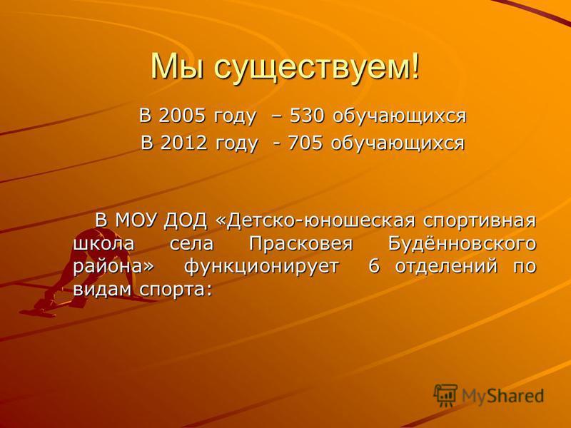 Мы существуем! В 2005 году – 530 обучающихся В 2005 году – 530 обучающихся В 2012 году - 705 обучающихся В 2012 году - 705 обучающихся В МОУ ДОД «Детско-юношеская спортивная школа села Прасковея Будённовского района» функционирует 6 отделений по вида