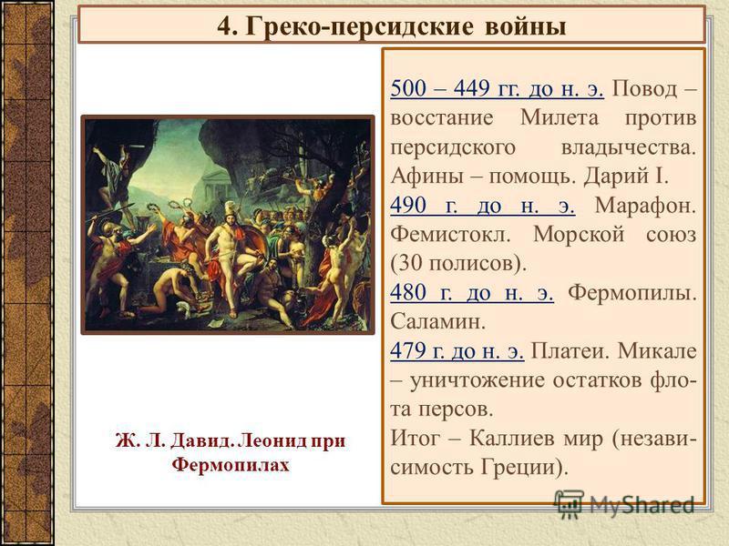 4. Греко-персидские войны 500 – 449 гг. до н. э. Повод – восстание Милета против персидского владычества. Афины – помощь. Дарий I. 490 г. до н. э. Марафон. Фемистокл. Морской союз (30 полисов). 480 г. до н. э. Фермопилы. Саламин. 479 г. до н. э. Плат