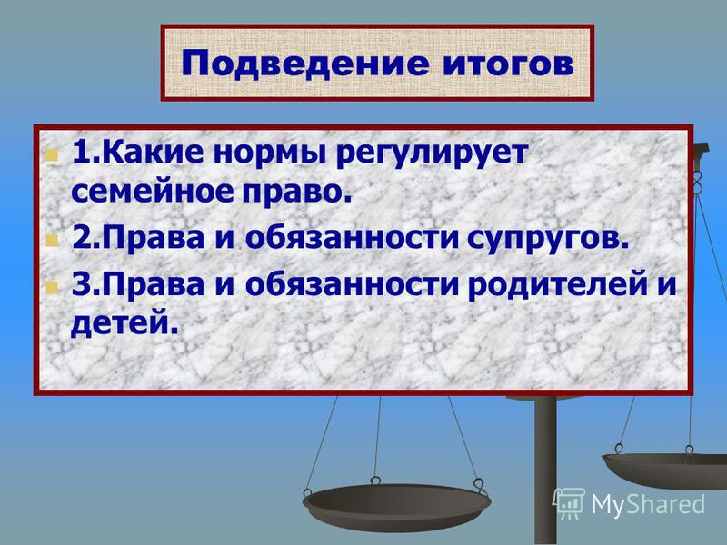 1. Какие нормы регулирует семейное право. 2. Права и обязанности супругов. 3. Права и обязанности родителей и детей. Подведение итогов