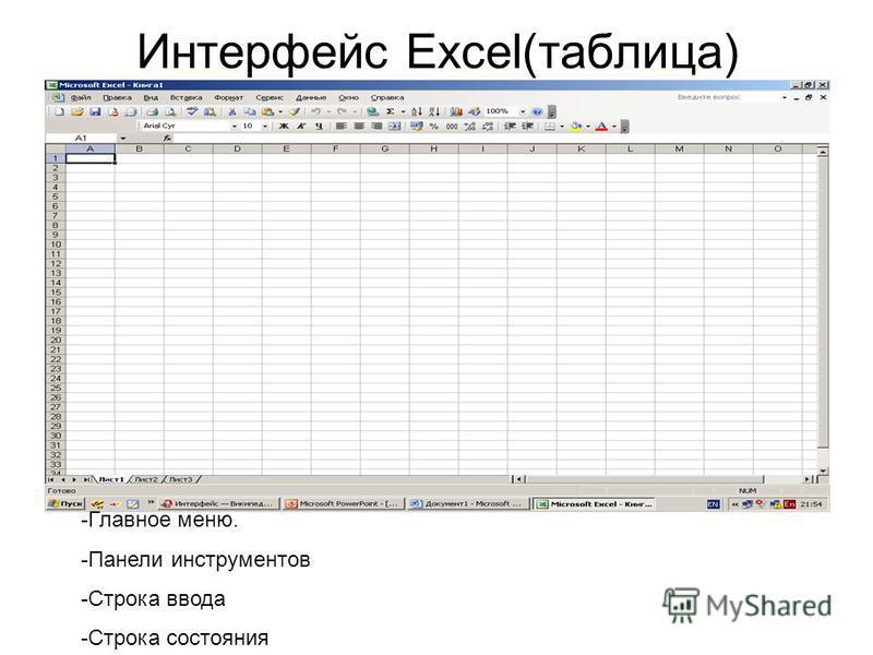 Интерфеис Excel(таблица) -Главное меню. -Панели инструментов -Строка ввода -Строка состояния