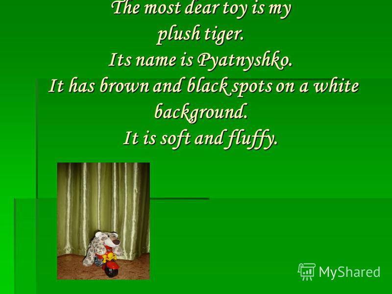 The most dear toy is my plush tiger. Its name is Pyatnyshko. It has brown and black spots on a white background. It is soft and fluffy.