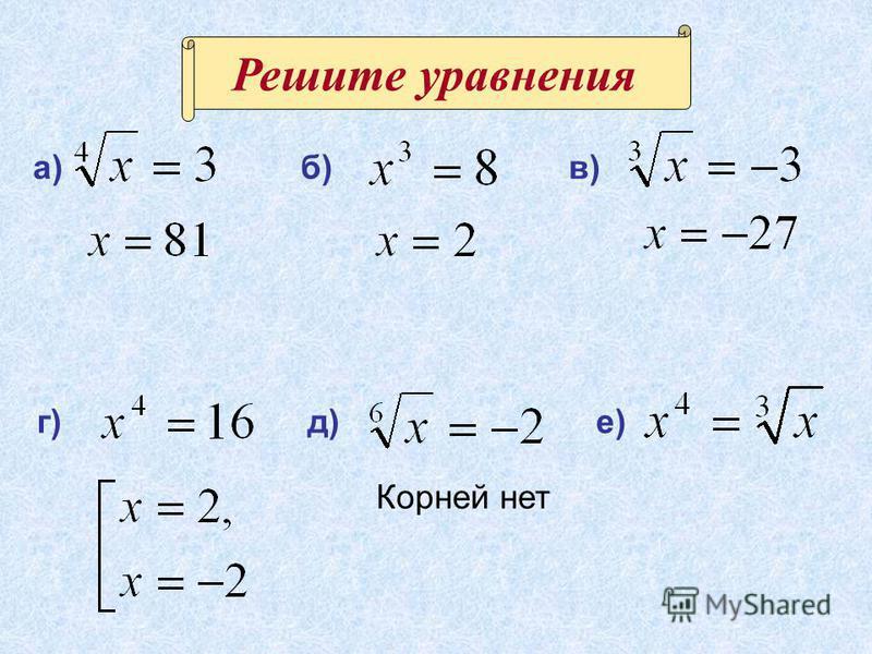 Решите уравнения Корней нет д) б)в) г) а) е)
