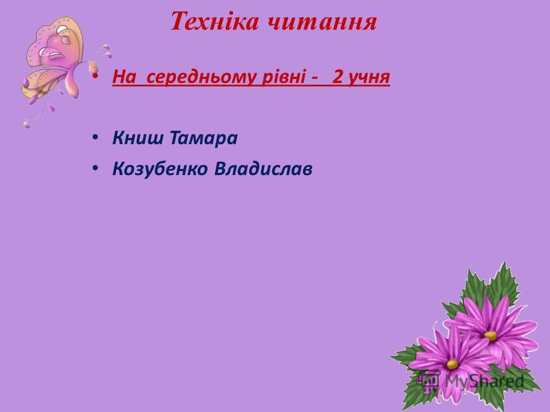 Техніка читання На середньому рівні - 2 учня Книш Тамара Козубенко Владислав