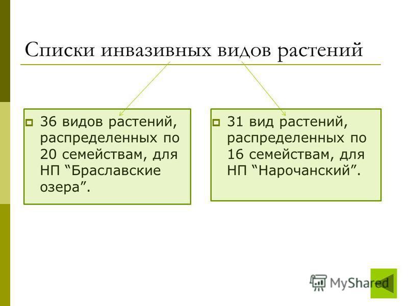 Списки инвазивных видов растений 36 видов растений, распределенных по 20 семействам, для НП Браславские озера. 31 вид растений, распределенных по 16 семействам, для НП Нарочанский.