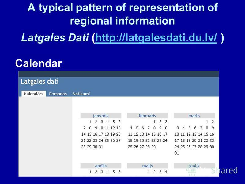 A typical pattern of representation of regional information Latgales Dati (http://latgalesdati.du.lv/ )http://latgalesdati.du.lv/ Calendar