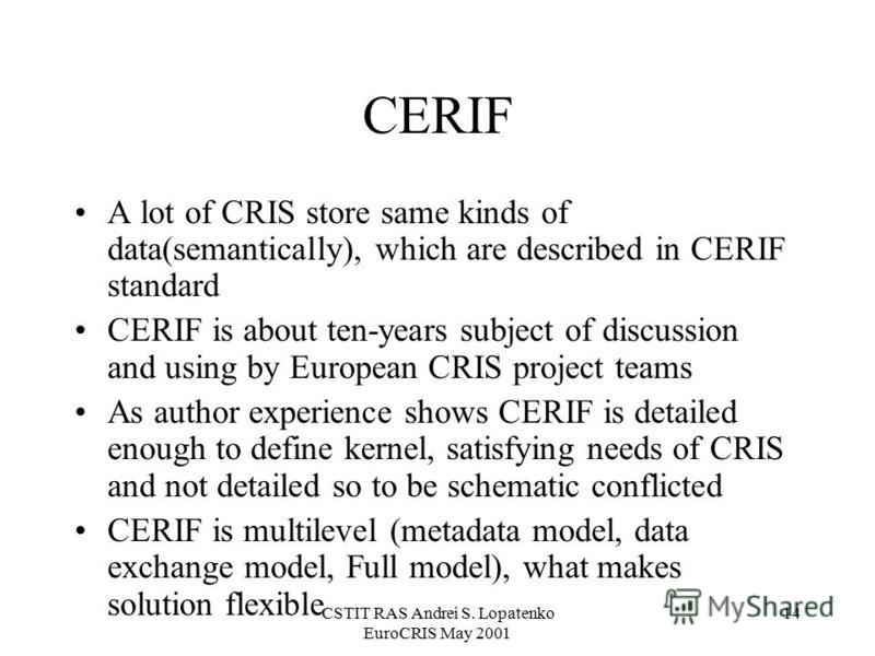 CSTIT RAS Andrei S. Lopatenko EuroCRIS May 2001 14 CERIF A lot of CRIS store same kinds of data(semantically), which are described in CERIF standard CERIF is about ten-years subject of discussion and using by European CRIS project teams As author exp