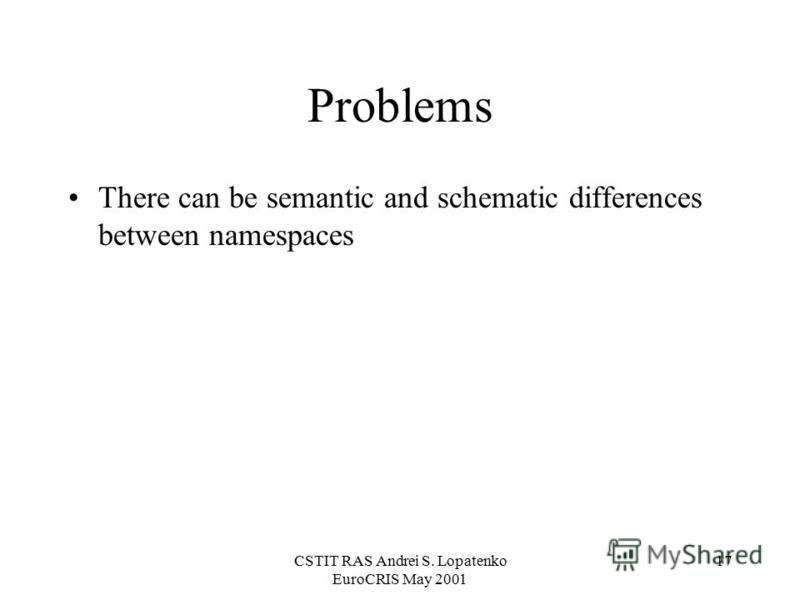 CSTIT RAS Andrei S. Lopatenko EuroCRIS May 2001 17 Problems There can be semantic and schematic differences between namespaces