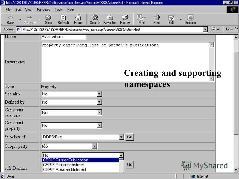 CSTIT RAS Andrei S. Lopatenko EuroCRIS May 2001 24 Creating and supporting namespaces