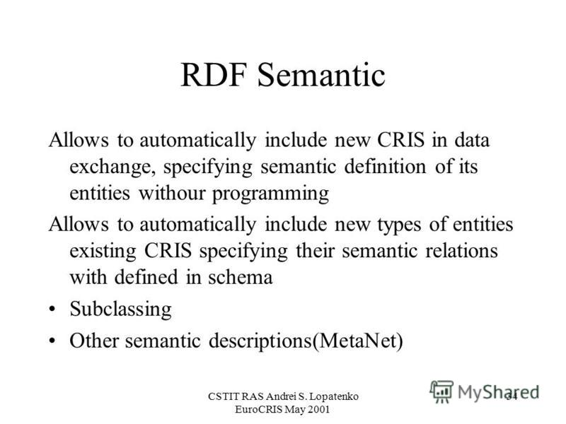 CSTIT RAS Andrei S. Lopatenko EuroCRIS May 2001 34 RDF Semantic Allows to automatically include new CRIS in data exchange, specifying semantic definition of its entities withour programming Allows to automatically include new types of entities existi