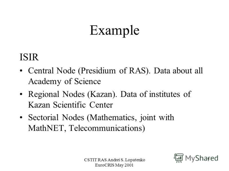 CSTIT RAS Andrei S. Lopatenko EuroCRIS May 2001 7 Example ISIR Central Node (Presidium of RAS). Data about all Academy of Science Regional Nodes (Kazan). Data of institutes of Kazan Scientific Center Sectorial Nodes (Mathematics, joint with MathNET,
