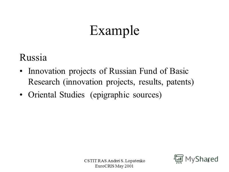 CSTIT RAS Andrei S. Lopatenko EuroCRIS May 2001 8 Example Russia Innovation projects of Russian Fund of Basic Research (innovation projects, results, patents) Oriental Studies (epigraphic sources)