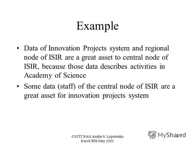 CSTIT RAS Andrei S. Lopatenko EuroCRIS May 2001 9 Example Data of Innovation Projects system and regional node of ISIR are a great asset to central node of ISIR, because those data describes activities in Academy of Science Some data (staff) of the c