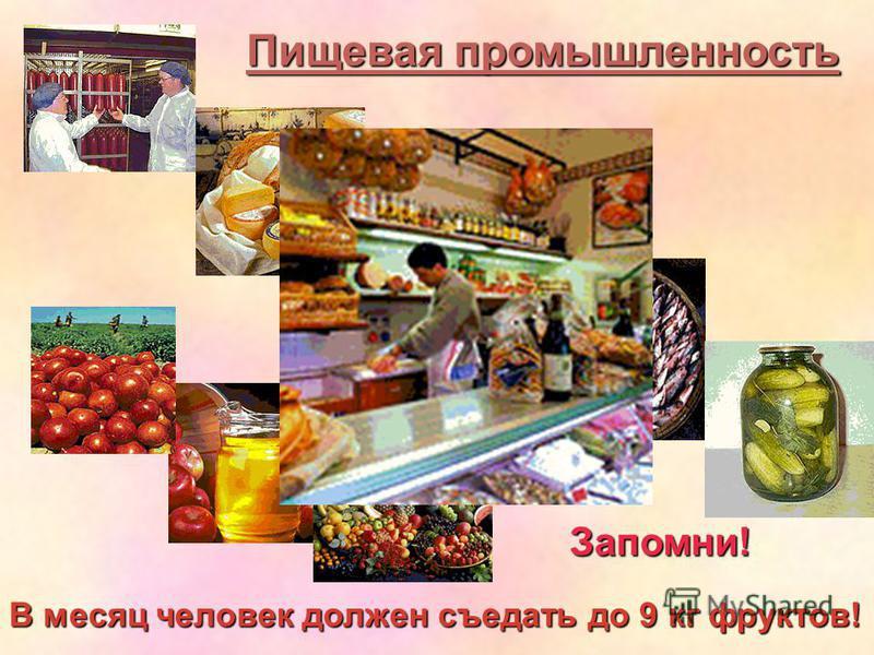 Пищевая промышленность Запомни! В месяц человек должен съедать до 9 кг фруктов!