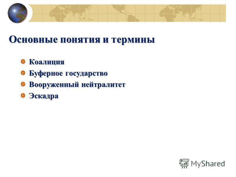 Основные понятия и термины Коалиция Буферное государство Вооруженный нейтралитет Эскадра