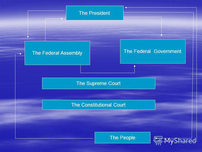 The President The Federal Assembly The Federal Government The People The Supreme Court The Constitutional Court