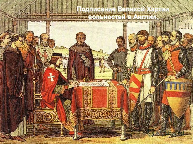 Подписание Великой Хартии вольностей в Англии.