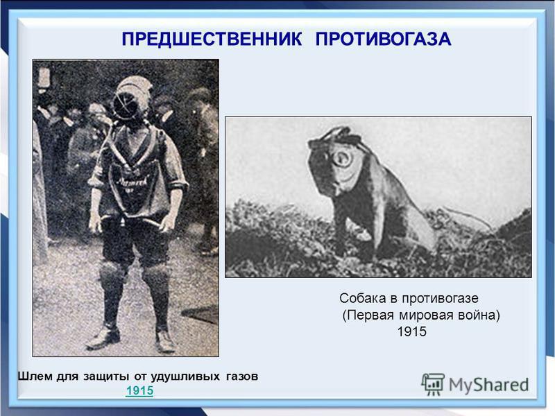 ПРЕДШЕСТВЕННИК ПРОТИВОГАЗА Шлем для защиты от удушливых газов 1915 Собака в противогазе (Первая мировая война) 1915