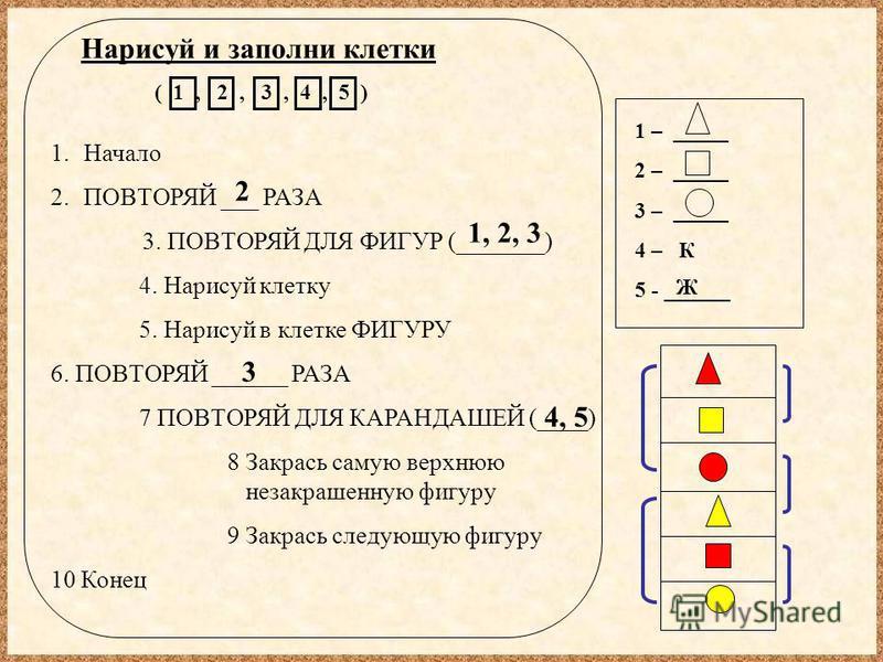 Нарисуй и заполни клетки ( 1, 2, 3, 4, 5 ) 1 – _____ 2 – _____ 3 – _____ 4 – К 5 - ______ 1. Начало 2. ПОВТОРЯЙ ___ РАЗА 3. ПОВТОРЯЙ ДЛЯ ФИГУР (_______) 4. Нарисуй клетку 5. Нарисуй в клетке ФИГУРУ 6. ПОВТОРЯЙ ______ РАЗА 7 ПОВТОРЯЙ ДЛЯ КАРАНДАШЕЙ (_