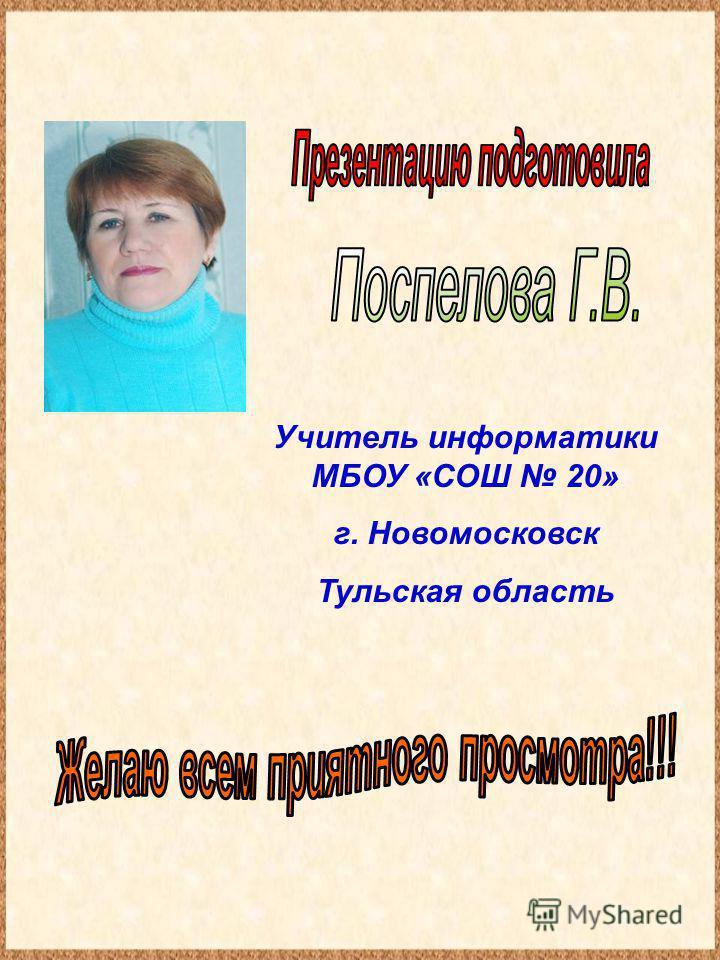 Учитель информатики МБОУ «СОШ 20» г. Новомосковск Тульская область