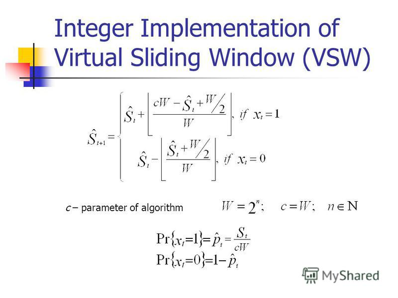 Integer Implementation of Virtual Sliding Window (VSW) c – parameter of algorithm