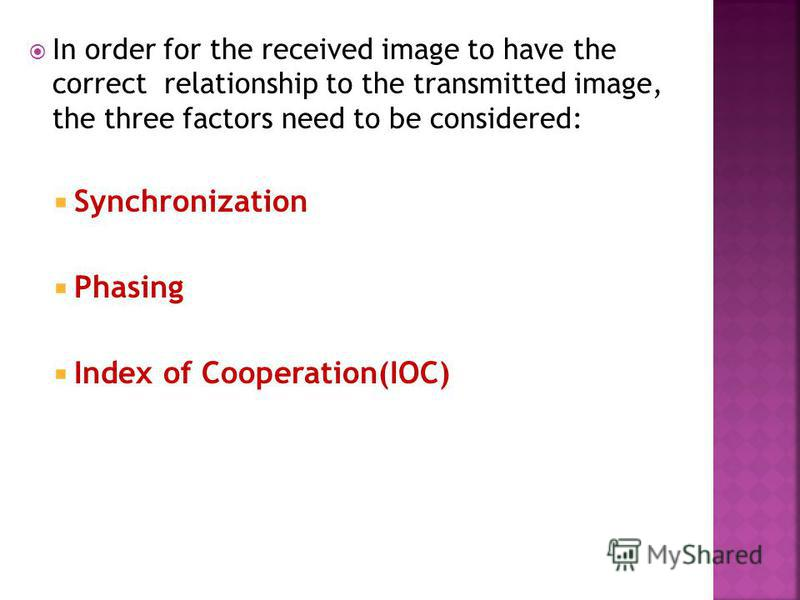 In order for the received image to have the correct relationship to the transmitted image, the three factors need to be considered: Synchronization Phasing Index of Cooperation(IOC)