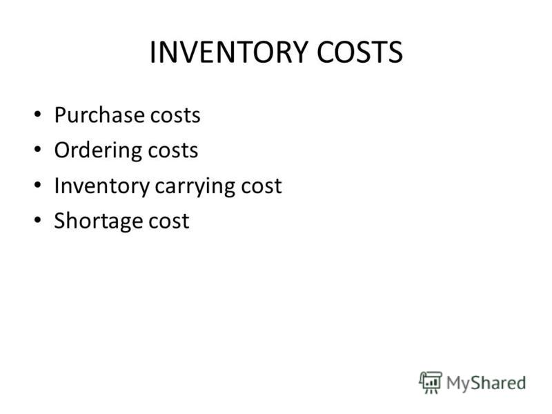 INVENTORY COSTS Purchase costs Ordering costs Inventory carrying cost Shortage cost