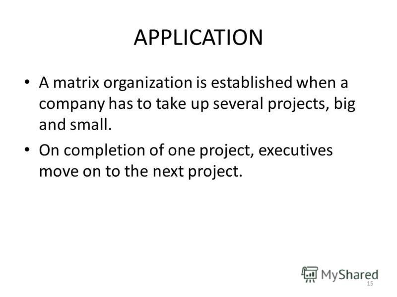 APPLICATION A matrix organization is established when a company has to take up several projects, big and small. On completion of one project, executives move on to the next project. 15
