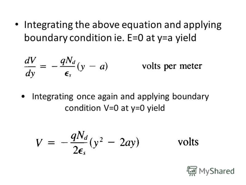 Integrating once again and applying boundary condition V=0 at y=0 yield Integrating the above equation and applying boundary condition ie. E=0 at y=a yield