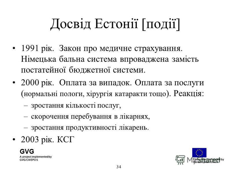 GVG A project implemented by GVG/CII/EPOS This project is funded by the European Union 34 Досвід Естонії [події] 1991 рік. Закон про медичне страхування. Німецька бальна система впроваджена замість постатейної бюджетної системи. 2000 рік. Оплата за в