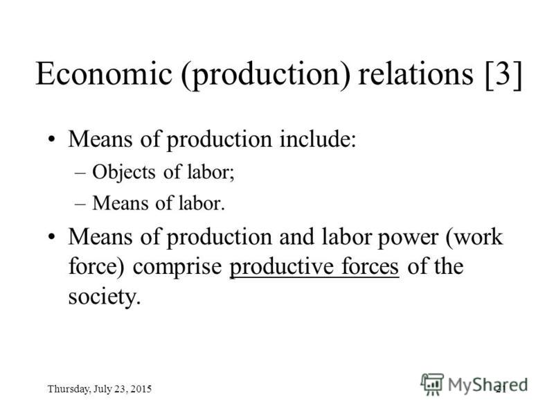 Thursday, July 23, 201520 Economic (production) relations [2] Means of labor cover the tools and instruments a human being applies to the objects of labor. They include: –Mechanical means of labor (machines, equipment, etc.) –Material conditions of l