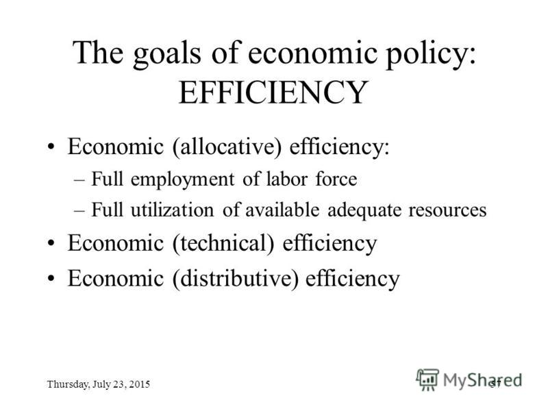 Thursday, July 23, 201556 The goals of economic policy EFFICIENCY EQUITY STABILITY